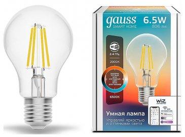 Лампа светодиодная диммируемая филаментная Gauss E27 6,5W 2000-6500K прозрачная 1220112.
